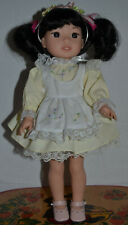 "Adorable American Girl Doll Wellie Wishers Emerson Black Hair 14"" Tall Redressed"