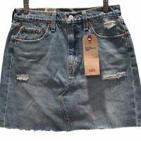Levis Womens Deconstructed Mini Denim Skirt Blue High Rise Distressed Sz 6 New