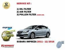 FOR SUBARU IMPREZA 1.6 2.0 2011-12/2016 NEW OIL AIR POLLEN 3 FILTER SERVICE KIT