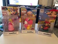New, Unopened Amiibo Lot Bundle: Peach, 30th Mario And Pink Yarn Yoshi