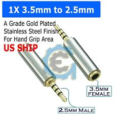 Gold 3.5mm Female to 2.5mm Male Stereo Audio Headphone Jack Adapter Converter