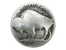 6 Buffalo Nickel 3/4 inch ( 20 mm ) Metal Buttons Antique Silver Color