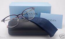 Lanvin VLN 029 COL 0SDM Half Rimless Dark Purple Titanium Eyeglasses 48mm