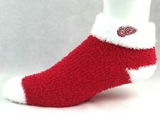 NHL Detroit Redwings Red with White Cuff Fuzzy Sleep Socks One Size Fits Most