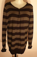 ESPRIT Size M Black and Grey Tab Neck Jumper
