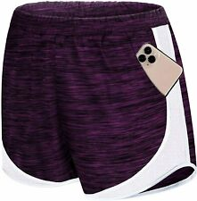 Koscacy Women Banded Waist Double Layer Fitness Running Workout Lounge Shorts wi