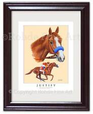 JUSTIFY - 2018 TRIPLE CROWN WINNER - FRAMED HORSE RACING ART print ROHDE