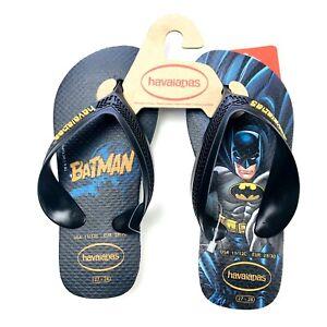 Havaianas Toddler Black Cushion DC Comics Batman Flip Flop Sandals Sz 11/12C NEW