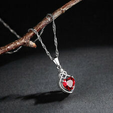 "Silver Red Heart Knot CZ Necklace Pendant Jewellery 18"" Chain Free Gift Bag"