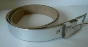 """Ladies Genuine Leather Silver Belt 1.25""""/30mm S,M,L,XL,XXL Made in England B4"""