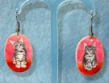 Dipinti A MANO Naturale GUSCIO UNICO Orecchini a forma di gatto grigio rosso GATTINI sulle Izotov firmato