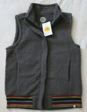 NWT! Life is Good Womens Sherpa Vest Striped Cuff Gray $68 Small S