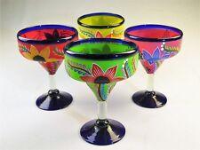 Mexican Margarita Glasses, Hand Painted POP flowers, various