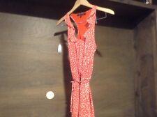 Crimson Coast Women's Dress Sz. XS Sleeveless Lined SLIMMING TIE ORANGE IVORY
