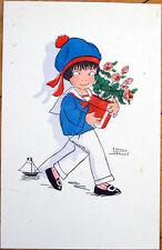 1930 Edmond Sornein/Artist-Signed French Postcard: Child w/Flower Pot & Toy Boat