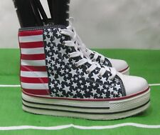 "4TH OF JULY Womens Hi Top American Flag 1.5"" Platform Sexy Ankle Boots  Size 9"