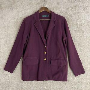 Lauren Ralph Lauren Blazer Womens Plus Size 1X Purple Gold Button Sweater Jacket