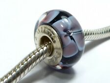 AUTHENTIC CHAMILIA 925 SILVER & MURANO PURPLE FLOWER CHARM BEAD Bracelet
