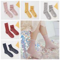 New Women's Novelty Glitter Socks Shiny Ankle Socks Casual Ladies Retro Sock US