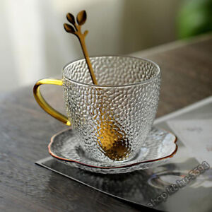 Coffee Cup With plum blossom spoon and Saucers Hammer Glass Tea With Handle160ml