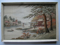 Vinatge Antique Japanese Silk Picture, Tapestry Embroidery Mt Fuji Landscape
