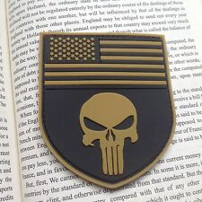 TAN PUNISHER USA FLAG SHIELD MORALE TACTICAL ISAF NAVY US SEAL PVC PTACH