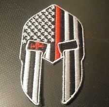 Red line spartan USA flag patch iron-on firefighter tactical fire man