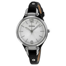 Fossil Georgia Silver Dial Black Leather Ladies Watch ES3199
