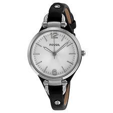 Fossil Georgia Silver Dial Black Leather Ladies Watch ES3199