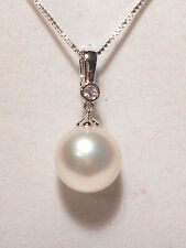 11.3mm white South Sea pearl pendant/enhancer,diamond,solid 18k white gold