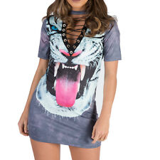 New Tiger Print String Lace Up Choker Neck Long Tee Shirt Mini Dress T Shirt Top