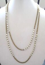 """VINTAGE MIRIAM HASKELL NECKLACE Long GOLD TONE CHAIN with PEARL NECKLACE~ 60"""""""