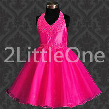 Beaded Pageant Flower Girls Halter Dress Party Formal Occasion Size 2T-7 #013