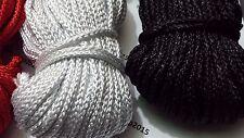 Quality 5 Metres Nylon Braided Cord Thread Twine 4mm MANY COLOURS