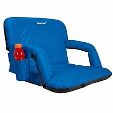 Reclining Folding Sport Stadium Seat with Back Ideal for Bleachers Lawns - Blue