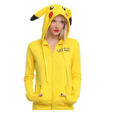 Pikachu Pokemon Anime Jacket Xmas Cosplay Ears Face Tail Zip Sweatshirt Hoodies