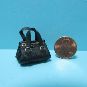 Dollhouse Miniature Lady's Black Leather Purse 2 Handles Gold Accent B0213