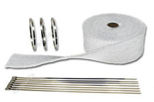 10M WHITE HEAT WRAP EXHAUST MANIFOLD DOWNPIPE + 10 CABLE TIES 36cm 1000 Degree