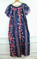 Vintage Hilo Hattie Cotton MuuMuu Maxi Dress Hawaiian Floral Housedress XL Blue