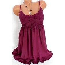 UK Womens Summer Sling Vest Long Tops Blouse Ladies Lace Casual Mini Dress 6-20