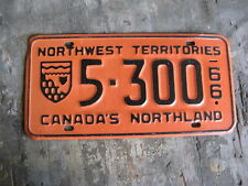 1966 66 NWT NORTHWEST TERRITORIES LICENSE PLATE #5300 AMAZING CONDITION