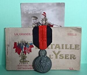 WW1 Belgian YSER Medal plus related Postcards.
