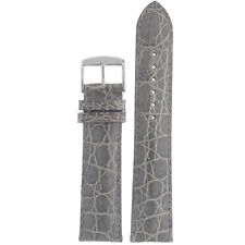 Genuine Crocodile Grey Watch Strap Padded 12mm - 22mm