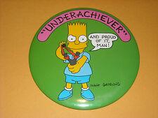 "Vintage 1980's BUTTON PIN Bart Simpson ""Underachiever"" Large Size 6"""