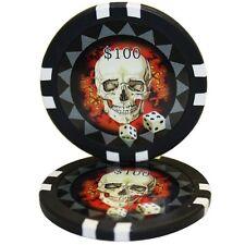 50pcs 13.5g Skull Casino Poker Chips $100