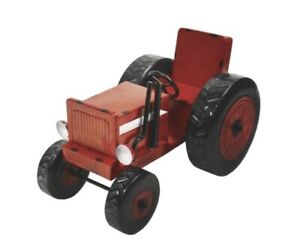 13 inch Tall Red Metal Garden Tractor Statue (me) m12