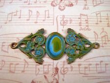 Verdigris Patina Brass Fancy Connector Cameo Setting (1) - VPRAT3317