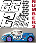 WHITE w/Black (#2's) Racing Numbers Decal Sticker Sheet 1/8-1/10-1/12  RC Models