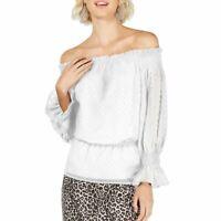 INC NEW Women's White Swiss Dot Off-the-shoulder Blouse Shirt Top TEDO
