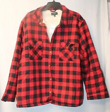 NEW WOMENS PLUS SIZE 3X RED & BLACK BUFFALO PLAID BUTTON DOWN FAUX SHERPA JACKET